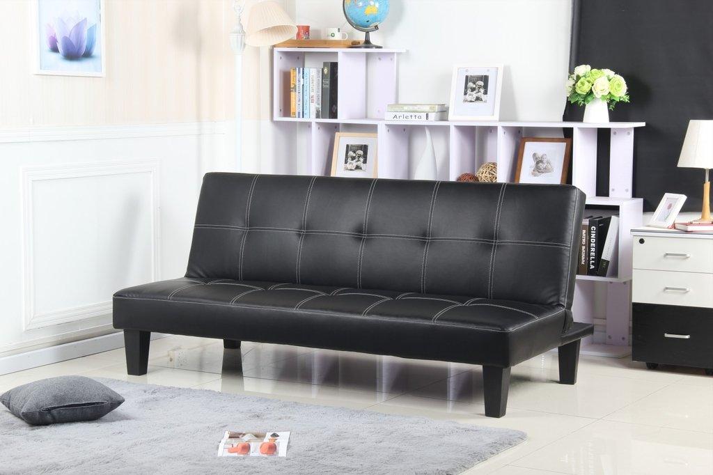 Futon negro modelo napa madera sofa de 3 cuerpos cama de for Futon cama 1 plaza y media