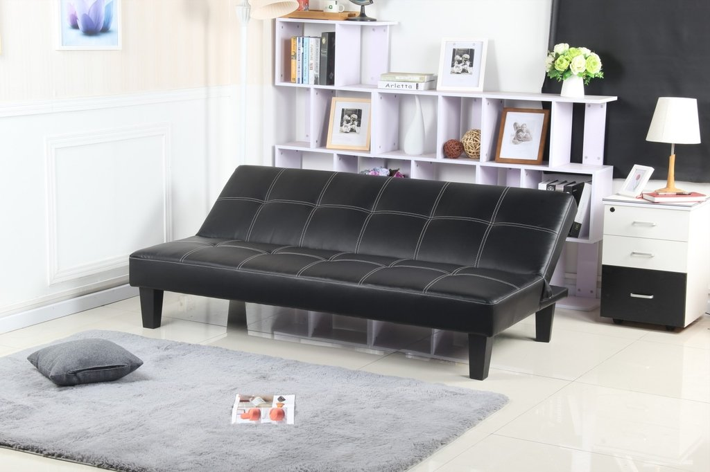 Futon negro modelo napa madera sofa de 3 cuerpos cama de for Futon 1 plaza precio