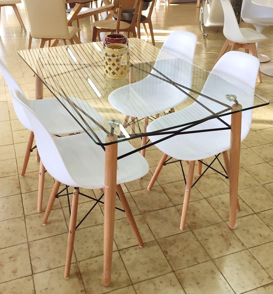 Juego de comedor eames mesa vidrio 1 20x80m 4 sillas dsw for Comedor vidrio 4 sillas