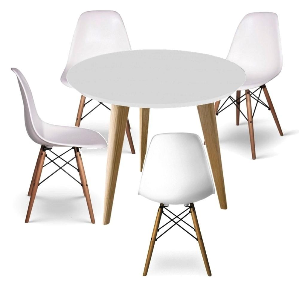 Juego de comedor mesa oslo 1 20 di metro 4 sillas eames for Silla escandinava