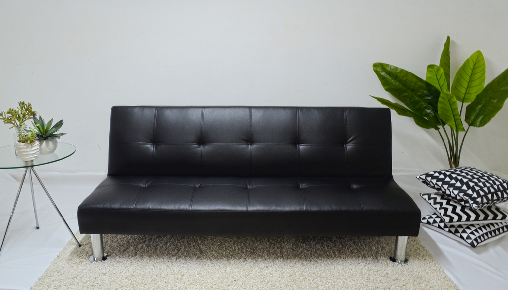 Futon negro modelo napa sofa de 3 cuerpos cama de 1 plaza for Futon cama 1 plaza y media