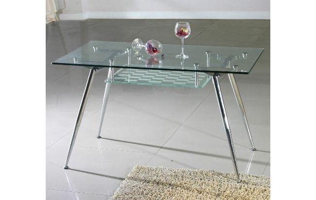 Mesa vidrio templado y cromo 1 30x75cm integral deco for Vidrio templado mesa