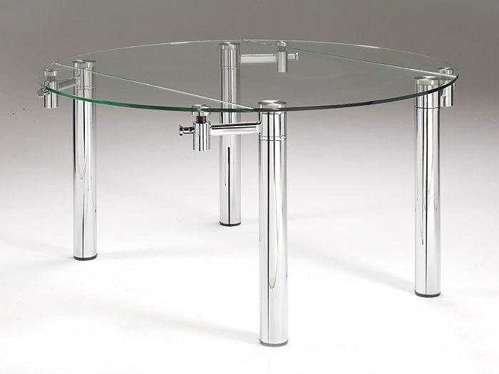 Mesa extensible vidrio y cromo medida 1 20 x 80cm a 1 for Mesa circular extensible