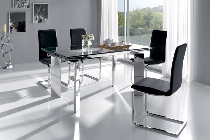 Juego de comedor mesa extensible a 2 10m 4 sillas gala for Vidrio para mesa de comedor