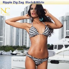 Ripple Zig Zag - Black & White - Top - NC Fit & Beach