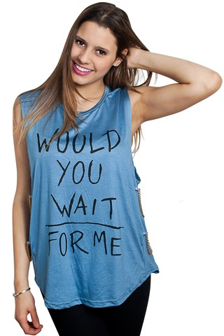 9/581 Syes teen, Musculosa WOULD YOU WAIT FOR ME, Talle M