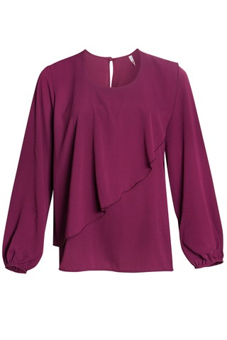 B579 Syes, Blusa corte irregular creppe liso, Talles grandes