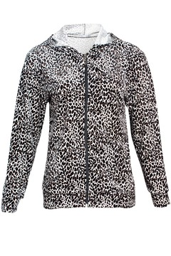 C511 Syes, Campera animal print con capucha, Talles grandes