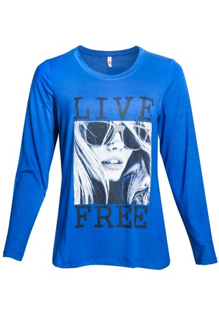 R151/42 Syes, Remera Live Free, talles grandes