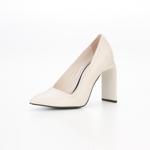 ESCARPIN METAL HEEL BIENAL 100% COURO MILAA OFF WHITE