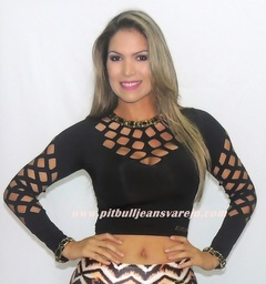 Top Cropped M/L Furado A Laser  na internet