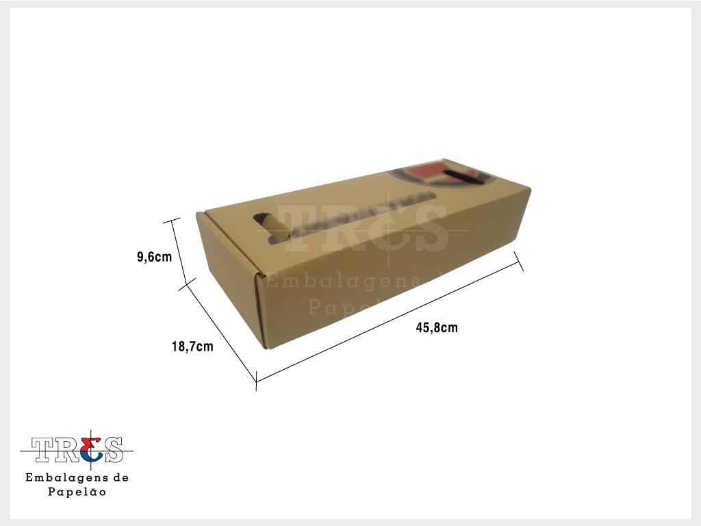 Caixa - C: 45,80 x L: 18,70 x A: 9,60 cm - Onda simples - Parda - 1 unid