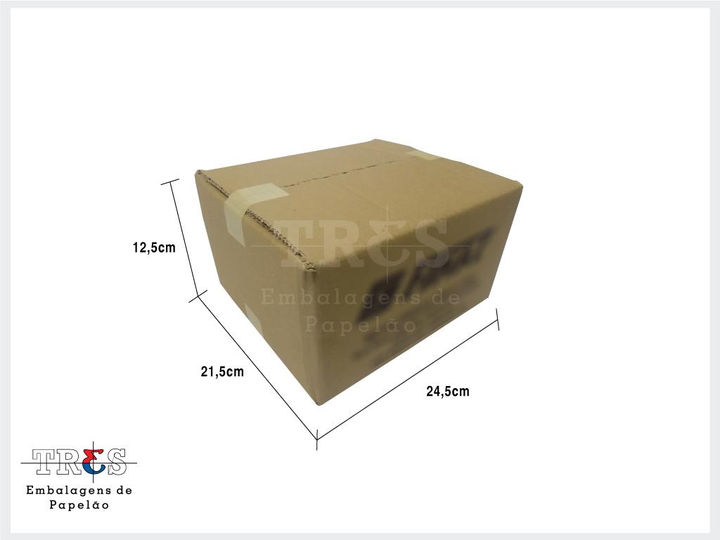 Caixa - C: 24,50 x L: 21,50 x A: 12,60 cm - Onda dupla - Parda - 1 unid