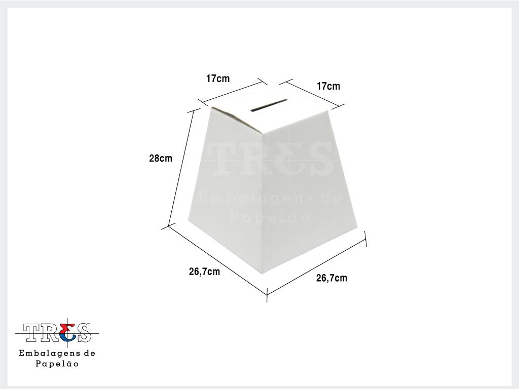 Urna M - C: 26,7 X L: 26,7 X A: 28 cm - Onda simples - Branca - Pcte 100 unids