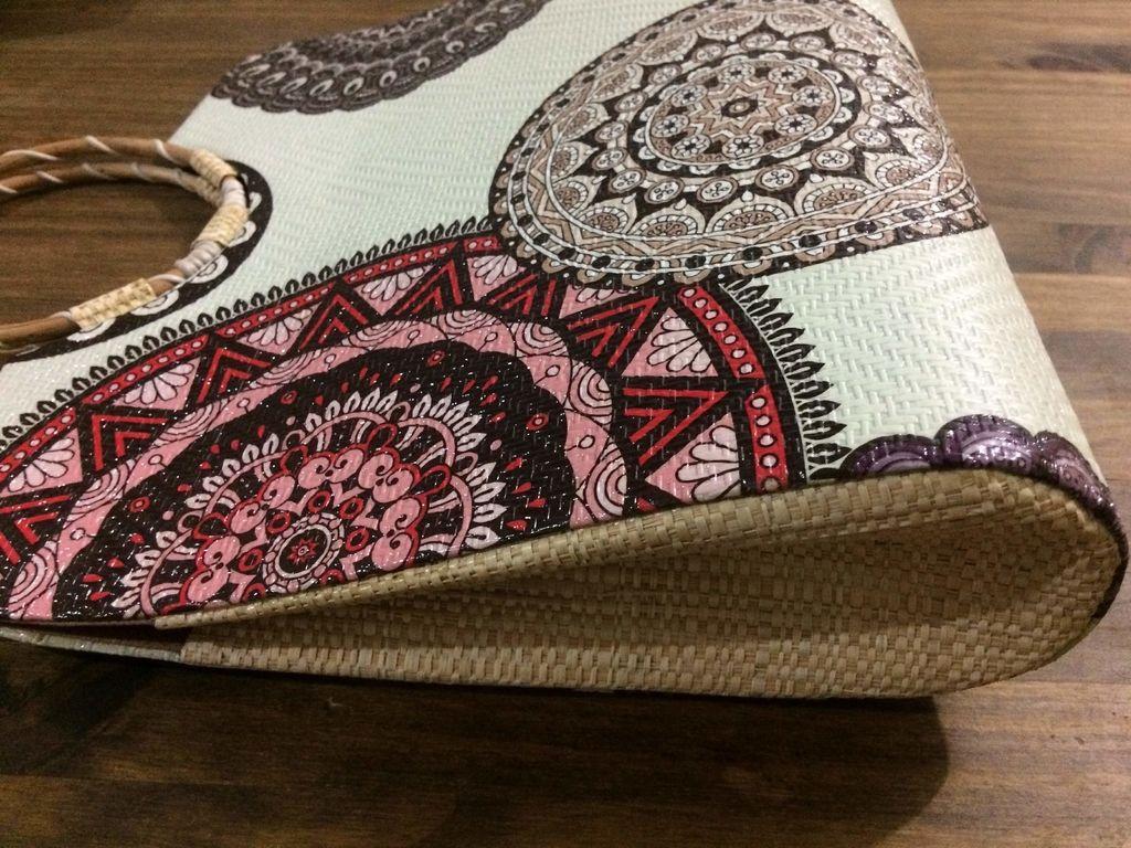 Bolsa De Tecido Com Alça De Bambu : Bolsa de palha buriti al?a bambu