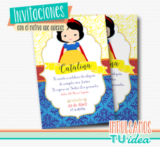 Cumple Blancanieves, invitación blancanieves imprimible