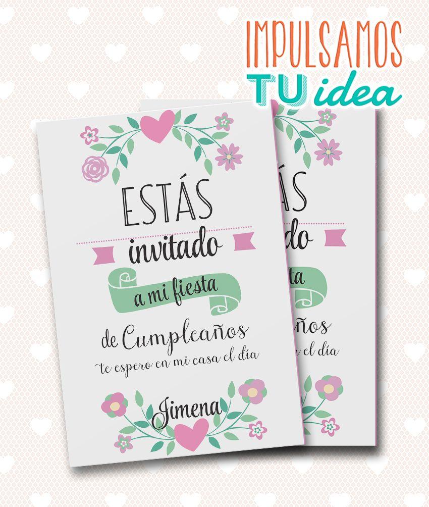 Cumple Nena Invitaci 243 N Con Flores Para Imprimir