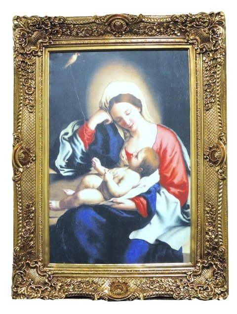 9800 - QUADRO CLÁSSICO MOLD DOUR 120X92 MOD:4 MARY AND BABY