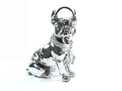 3011 - ESTATUETA DOG FASHION LUXO PINT SILVER 21CM na internet