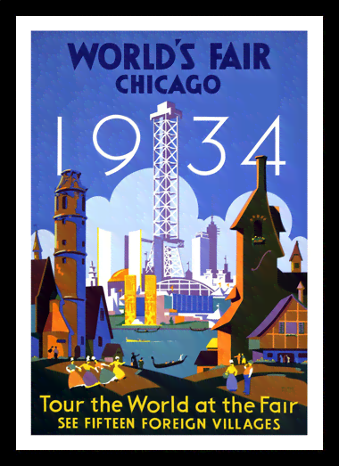 Quadro Poster Propaganda Worlds Fair Chicago
