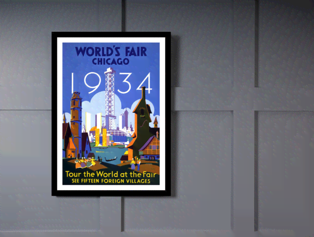 Quadro Poster Propaganda Worlds Fair Chicago na internet