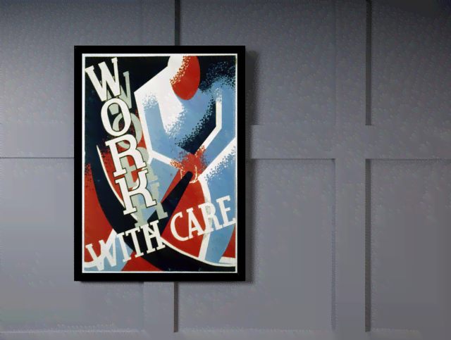 Quadro Poster Propaganda Work With Care na internet