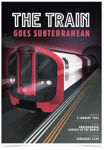 Poster Propaganda The Train Goes Subterranean
