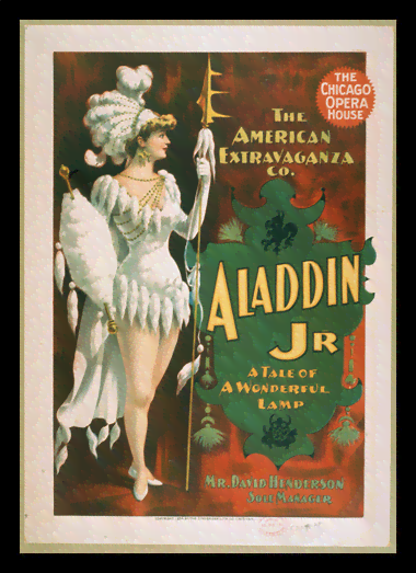 Quadro Poster Propaganda The Chicago Opera House Aladdin Jr