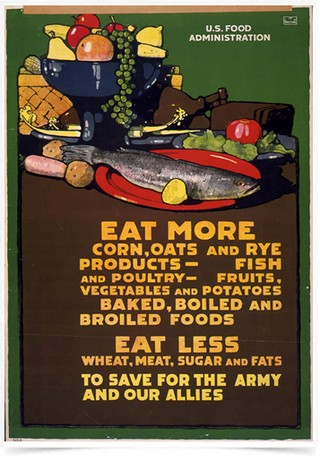 Poster Propaganda Guerra Eat More Eat Less