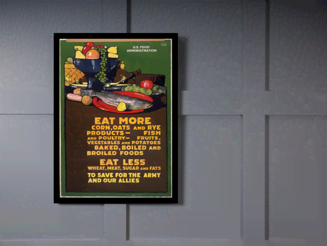 Quadro Poster Propaganda Guerra Eat More Eat Less  na internet