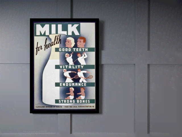 Quadro Poster Propaganda Bebidas Milk for Health na internet