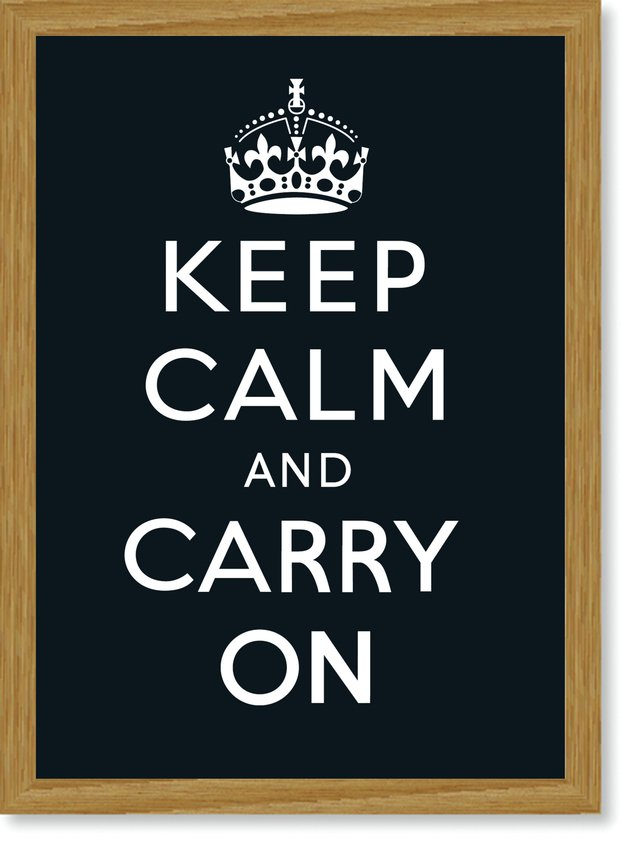 Quadro Poster Frases Keep Calm Carry Black - Decor10