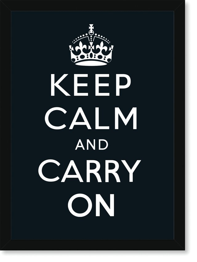 Quadro Poster Frases Keep Calm Carry Black