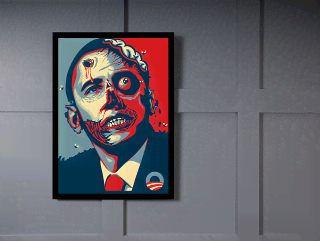 Quadro Poster Art Digital Obama Zumbi na internet