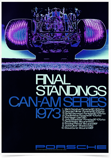 Poster Carros Porsche Final Standings 1973 Red