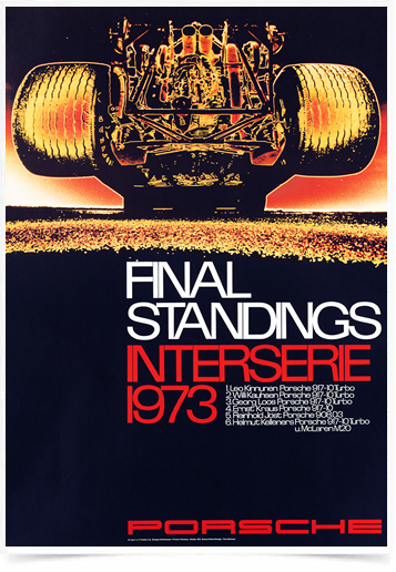 Poster Carros Porsche Final Standings 1973 Yellon