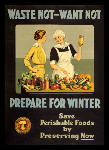 Quadro Poster Cozinha Waste Not Want Not Prepare for Winter