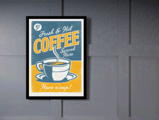Quadro Poster Propaganda Fresh e Hot Coffee Served Here na internet