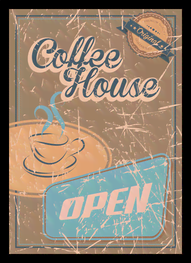 Quadro Poster Propaganda Coffee House Open