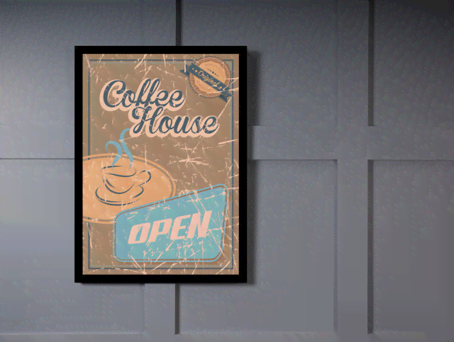 Quadro Poster Propaganda Coffee House Open na internet