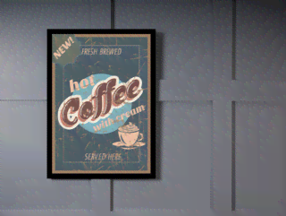 Quadro Poster Propaganda Hot Coffee With Cream na internet