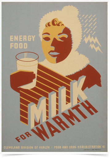 Poster Cozinha Milk for Warmth Energy Food