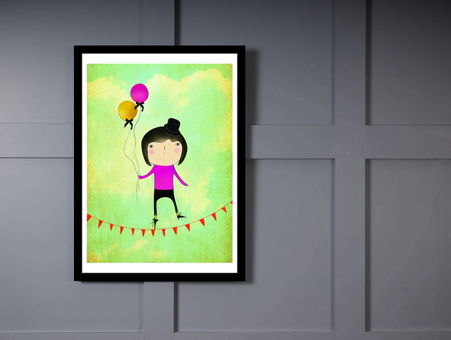 Quadro Poster Art Digital Boy and Ballon na internet