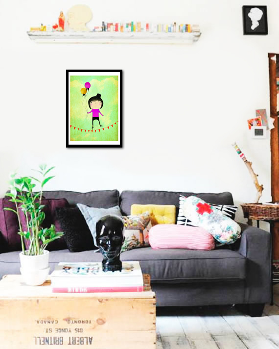 Quadro Poster Art Digital Boy and Ballon - comprar online
