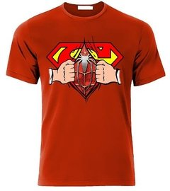 Playeras Superman Pecho Con Spiderman Abriendo Camisa