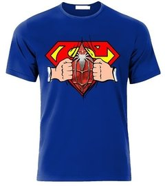 Playeras Superman Pecho Con Spiderman Abriendo Camisa en internet
