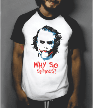 Camiseta raglan manga curta Coringa why so serious? Joker