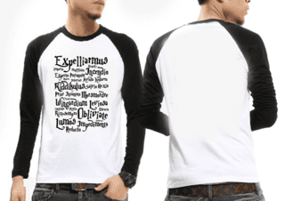 Camiseta Raglan Manga Longa Harry Potter EXPELLIARMUS