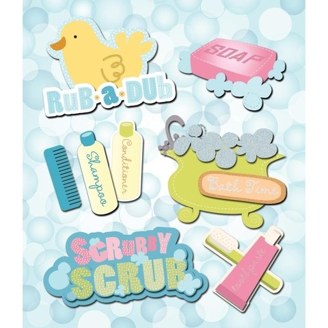 Plancha de Stickers Tridimensionales Bath Time K&Company