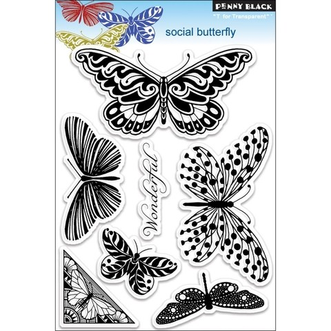Sellos Social Butterfly Clear Stamp Penny Black - comprar online